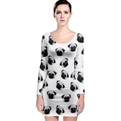 Pug dog pattern Long Sleeve Bodycon Dress