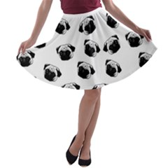 Pug dog pattern A-line Skater Skirt