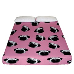 Pug dog pattern Fitted Sheet (California King Size)