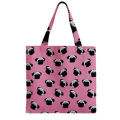 Pug dog pattern Zipper Grocery Tote Bag
