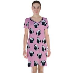 Pug dog pattern Short Sleeve Nightdress