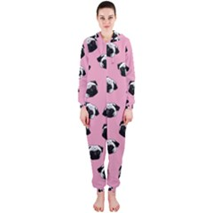 Pug dog pattern Hooded Jumpsuit (Ladies)
