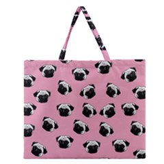 Pug dog pattern Zipper Large Tote Bag