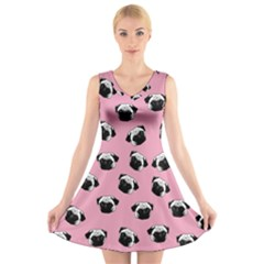 Pug dog pattern V-Neck Sleeveless Skater Dress