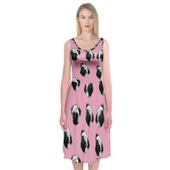Pug dog pattern Midi Sleeveless Dress