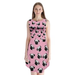 Pug dog pattern Sleeveless Chiffon Dress