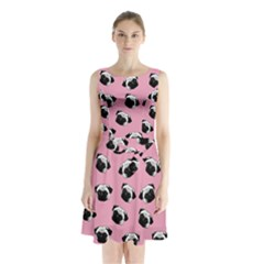 Pug dog pattern Sleeveless Chiffon Waist Tie Dress