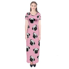 Pug dog pattern Short Sleeve Maxi Dress