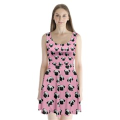 Pug dog pattern Split Back Mini Dress