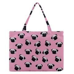 Pug dog pattern Medium Zipper Tote Bag