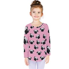 Pug dog pattern Kids  Long Sleeve Tee