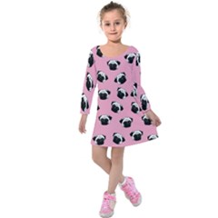 Pug dog pattern Kids  Long Sleeve Velvet Dress