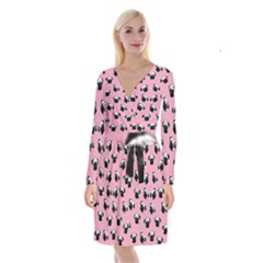 Pug dog pattern Long Sleeve Velvet Front Wrap Dress