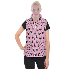 Pug dog pattern Women s Button Up Puffer Vest
