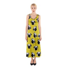 Pug dog pattern Sleeveless Maxi Dress