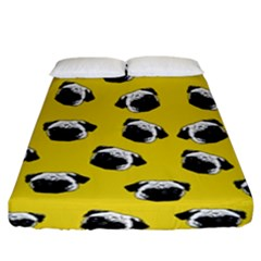 Pug dog pattern Fitted Sheet (King Size)