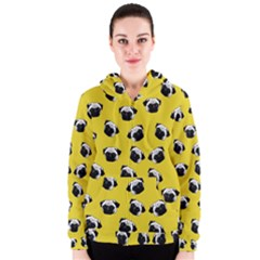 Pug dog pattern Women s Zipper Hoodie
