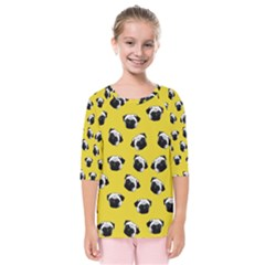 Pug dog pattern Kids  Quarter Sleeve Raglan Tee