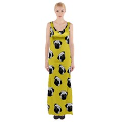 Pug dog pattern Maxi Thigh Split Dress