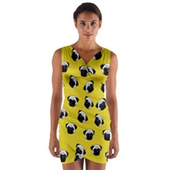 Pug dog pattern Wrap Front Bodycon Dress