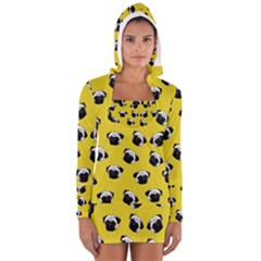 Pug dog pattern Women s Long Sleeve Hooded T-shirt