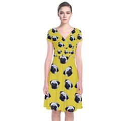 Pug dog pattern Short Sleeve Front Wrap Dress