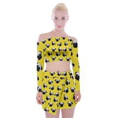 Pug dog pattern Off Shoulder Top with Skirt Set