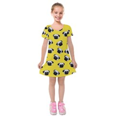 Pug dog pattern Kids  Short Sleeve Velvet Dress