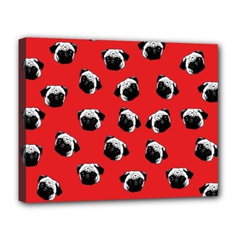 Pug dog pattern Canvas 14  x 11
