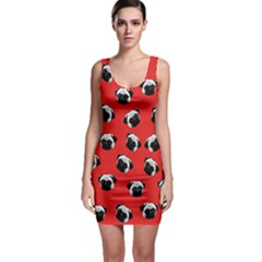 Pug dog pattern Sleeveless Bodycon Dress