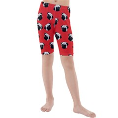 Pug dog pattern Kids  Mid Length Swim Shorts