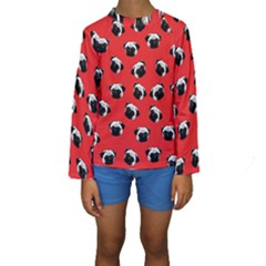 Pug dog pattern Kids  Long Sleeve Swimwear