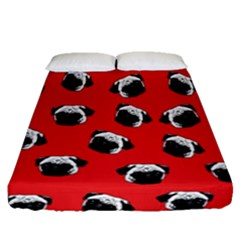 Pug dog pattern Fitted Sheet (Queen Size)