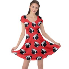 Pug dog pattern Cap Sleeve Dresses