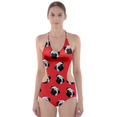 Pug dog pattern Cut-Out One Piece Swimsuit