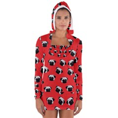 Pug dog pattern Women s Long Sleeve Hooded T-shirt