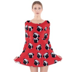 Pug dog pattern Long Sleeve Velvet Skater Dress