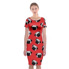 Pug dog pattern Classic Short Sleeve Midi Dress