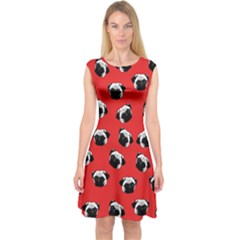 Pug dog pattern Capsleeve Midi Dress