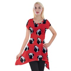 Pug dog pattern Short Sleeve Side Drop Tunic