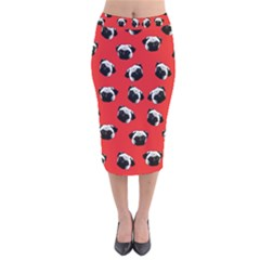 Pug dog pattern Velvet Midi Pencil Skirt