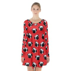 Pug dog pattern Long Sleeve Velvet V-neck Dress