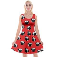 Pug dog pattern Reversible Velvet Sleeveless Dress