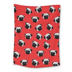 Pug dog pattern Medium Tapestry