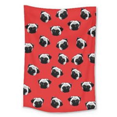 Pug dog pattern Large Tapestry