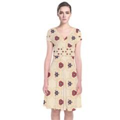 Orange flowers pattern    Short Sleeve Front Wrap Dress