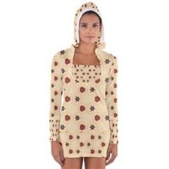 Orange flowers pattern         Women s Long Sleeve Hooded T-shirt