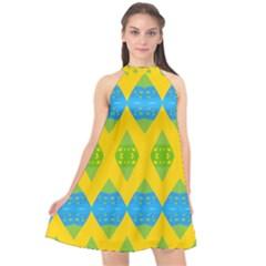 Rhombus Pattern          Halter Neckline Chiffon Dress