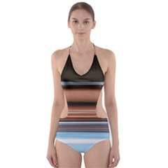 Color Screen Grinding Cut-Out One Piece Swimsuit