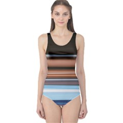 Color Screen Grinding One Piece Swimsuit